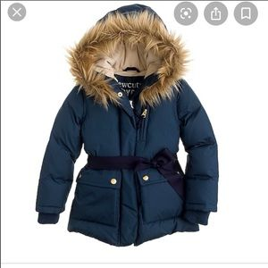 NWOT Crewcuts puffer with faux fur lined hood